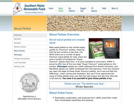 Web design sample: Southern Maine Renewable Fuels